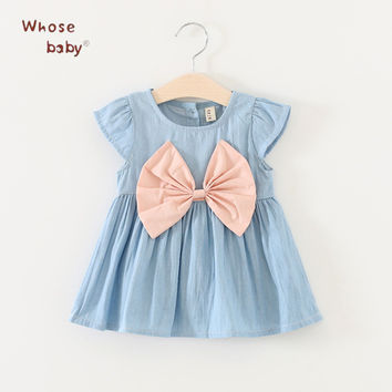 New Summer Baby Girls Dresses Newborn Denim Fancy Clothes With Big Bow-knot 2017 Fashion Cute Princess Toddler Girls Clothing