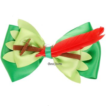 Licensed cool Disney Peter Pan Sword Bow Tie Hair Clip Pin Feather Cosplay Dress Up Costume