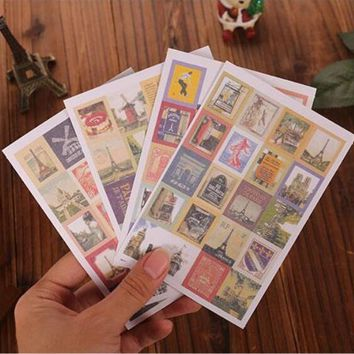 4sheets/pack/lot  Vintage life Folding style Stamps series diary Stickers DIY Multifunction sticker Lovely home Decoration label