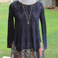 """Vanessa"" Tunic Top/Sweater Patchwork Printed Ruffle Hem, 2 colors"