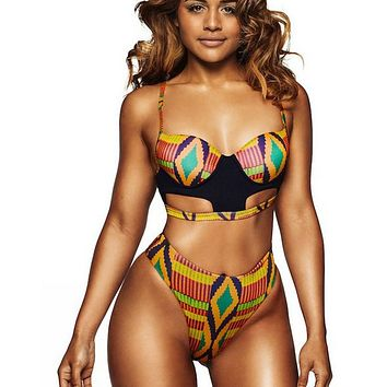 Brazil Print Bikini  Swimwear Push-Up Underwire