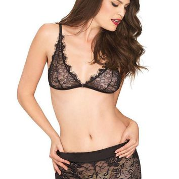DCCKLP2 The 2PC. Eyelash Lace Bralette and Matching Stretch Lace Boy Shorts in Black