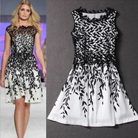 The new elegant water soluble lace stitching leaf print dress fashion temperament = 1958406276