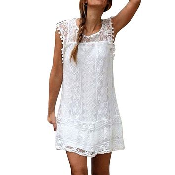 Women Casual Lace Sleeveless Beach Short Dress Summer Sexy Mini Dress white Sundress Vestidos Boho clothing fashion Robe Style