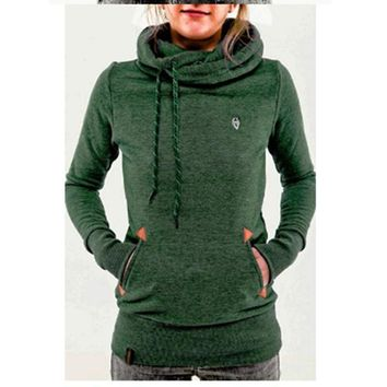 New Women Long Sleeve Slim Casual Pullover Hoodies