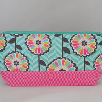 Aqua and Pink Floral Zipper Pouch For Makeup Or Cell Phone