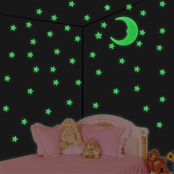 1 set 2016 Worldwide Stars Moon Sun Glow In The Dark Luminous Fluorescent Home Wall Stickers Decor Free Shipping