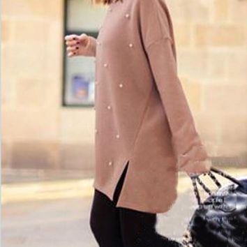 Pink Patchwork Irregular Beading Side Slit Round Neck Long Sleeve Pullover Sweater