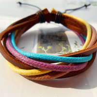 Graduation Gift Friendship Fashion Multicolor Cotton rope weave real Leather cuff Adjustable wrap Bracelet  M-43