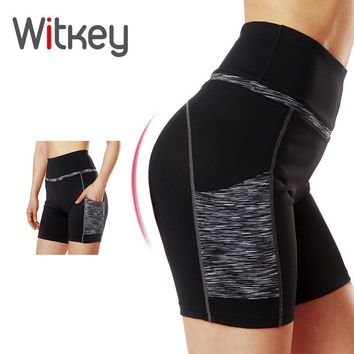 Witkey High Waisted Sport Shorts for Women Yoga Shorts with Pockets Women's Quick Dry Running Fitness Workout Gym Shorts Women