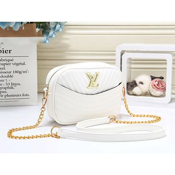 Louis Vuitton LV Fashion New Leather Chain Shopping Leisure Crossbody Bag Shoulder Bag Women White