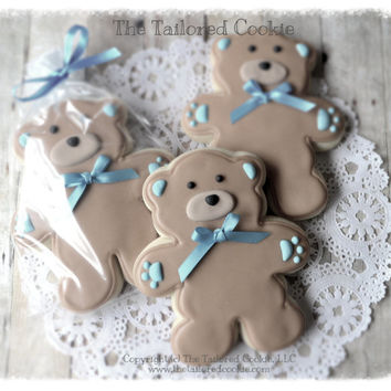 Decorated Teddy Bear Shortbread Sugar Cookie Favors, Blue, Brown, Tan