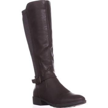 SC35 Luciaa Flat Riding Boots, Chocolate, 11 US