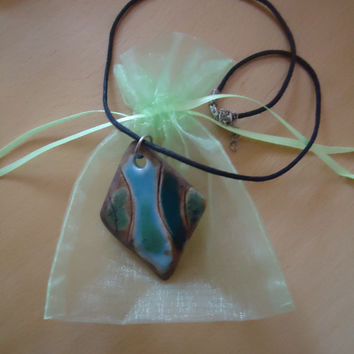 Handmade pottery pendant. Diamond shape necklace. Green-blue-light brown. Green nature. FREE SHIPPING!