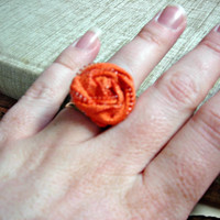 Ring made with Orange Vintage Zipper by bellerosedesigns on Etsy