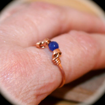 Blue Stone Ring, Pick Copper or Solid Sterling Silver Ring, Handmade Ring, Wire Wrapped metal Ring, Birthstone Ring, Toe Ring, Midi Ring