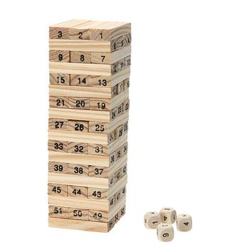 Wooden Tower Wood Building Blocks Kids Toy Domino 54pcs Stacker Extract Building Blocks Children Educational Game Gift 4pcs Dice