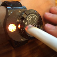 USB Charging sports Lighter Watch  Wristwatches with Windproof Flameless