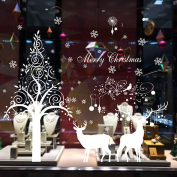 Merry Christmas decoration wall stickers home decor poster Snow