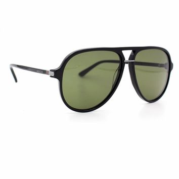 GUCCI Aviator Metal Sunglasses Black Frame with Green Lenses GG0015S 001 Tagre™