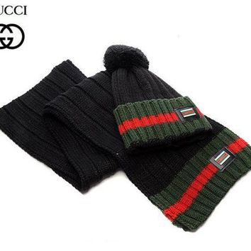 DCCKHI2 Perfect Gucci Women Men Winter Knit Hat Cap Scarf Set Two-Piece