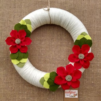 Christmas wreath, holiday gift, ivory wreath, red and green, yarn and felt flower wreath, floral wreath, large 14 inch size, ready to ship