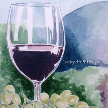 Watercolor Wine Glass, Wine Theme Painting, Watercolor Grapes
