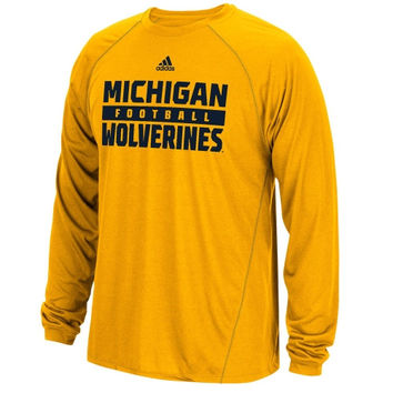 Michigan Wolverines adidas Long Sleeve ClimaLite Redzone Evade T-Shirt - Gold