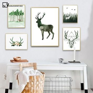 Watercolor Forest Deer Posters and Prints Wall Art Canvas Painting Nordic Style Wall Picture for Living Room Home Decor