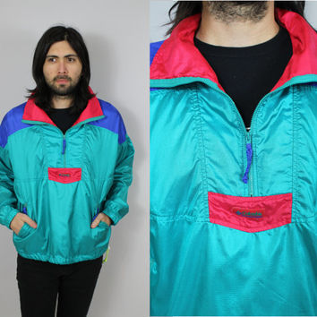 SALE - 80s/90s - Columbia - Turquoise Blue - Color Block - Wind Breaker - Zipper & Drawstring - Pullover Jacket