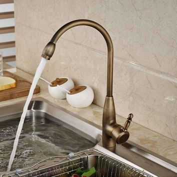 Modern Antique Brass Swivel Spout Kitchen Faucet Single Handle Hole Vessel Sink Mixer Tap Deck Mounted