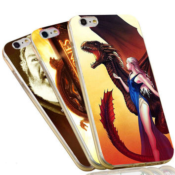 Jon Snow Stark Wolf Sexy Daenerys Targaryen The Game of Thrones Case For iPhone 4 4S 5C 5 5S SE 6 6S 7 Plus Soft TPU Phone Cover