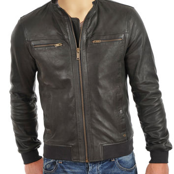 Grey leather jacket with ribbed cuffs and hem
