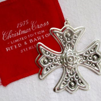 Vintage STERLING CHRISTMAS ORNAMENT Reed & Barton 1975 Sterling Silver Christmas Cross Ornament