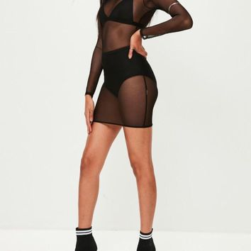 Stepping Out Mesh Micro Mini Dress