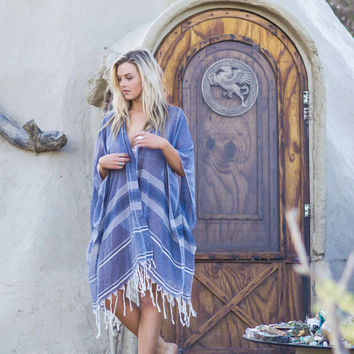 Cape Indigo  Weightless Kimono Boho Beach Cover Up Beach Dress Bohemian Beach Kimono Turkish Cotton Fringe Kimono Festival Clothing