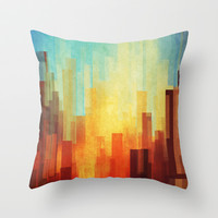 Urban sunset Throw Pillow by SensualPatterns