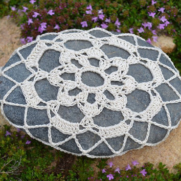 Lace Covered Rock, Crochet Stone
