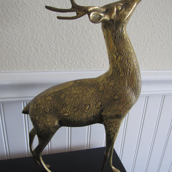 Vintage Large / Tall Brass Patina Deer Reindeer Buck Statue Antlers Spotted Fawn Woodland Hunting Scuplture Outdoor Home Decor
