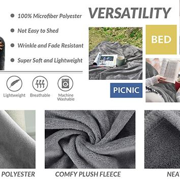 Flannel Fleece Luxury Blanket Grey King Size Lightweight Cozy Plush Microfiber Solid Blanket by Bedsure