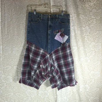 Sz 7 Purple Plaid Grunge Denim Jean Festival Rustic Skirt / Upcycled Shabby Chic Romantic Punk Prairie Skirt / Gypsy Skirt /  By Tattered Fx