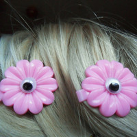 Creepy Spooky Pink Daisy Googly-eyed Eyeball Hair Barettes