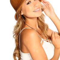 Tan Bow Accent Cute Summer Wool Cloche Hat