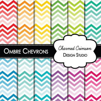 chevron digital paper, instant download, simple pastel ombre chevron pink yellow mint blue lavender peach teal gray tan purple  pape