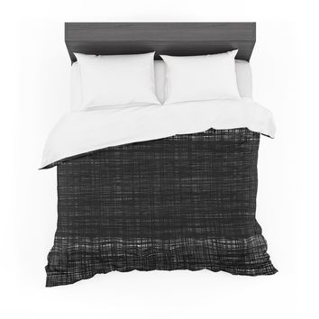 "Trebam ""Platno (center Stripe)"" Black White Modern Contemporary Digital Vector Featherweight Duvet Cover"