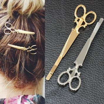 Gold Scissors Shears Clip For Hair Pin