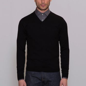Mens Sweaters Made in USA - Merino Wool - Black | Todd Shelton