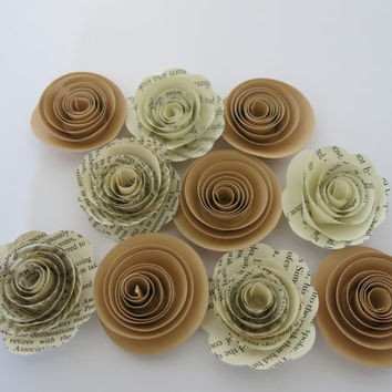 "Tan and Book page paper flowers, 10 piece set, 1.5"" roses, rustic wedding theme, beige baby shower decor, place setting favors table decor"