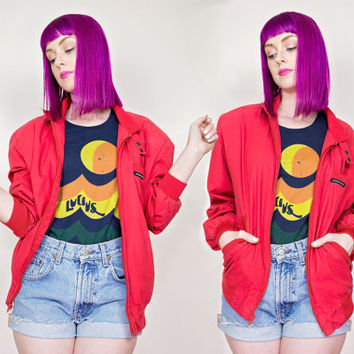 vintage red Members Only jacket / 80s lightweight wind breaker / womens red bomber jacket