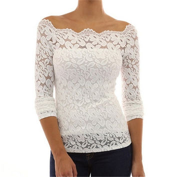 Women Shirts Fashion Long Sleeve White Lace Blouse Off Shoulder [7673667910]